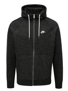 Čierna pánska melírovaná mikina na zips Nike Legacy