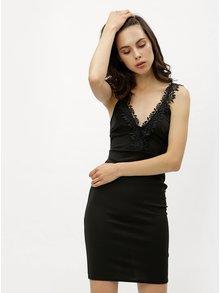 Čierne šaty s čipkovanými detailmi Miss Selfridge Petites