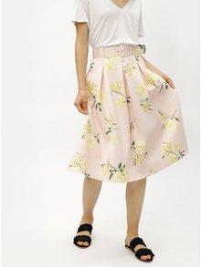 Fusta roz deschis cu cordon si model floral Miss Selfridge