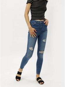 Modré super skinny džíny s vysokým pasem Miss Selfridge