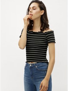 Top negru crop in dungi cu decolteu pe umeri Miss Selfridge