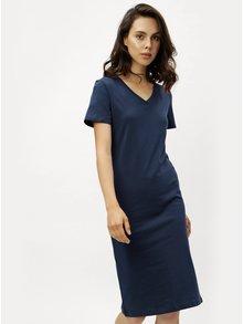Tmavomodré puzdrové šaty s krátkym rukávom ZOOT