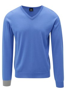 Pulover albastru din lana merino Live Sweaters