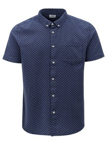 Camasa albastra cu model si maneci scurte Burton Menswear London