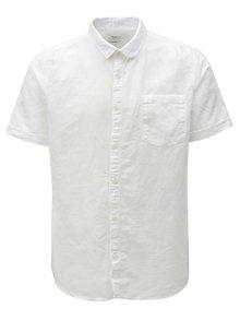 Bílá lněná košile s krátkým rukávem Burton Menswear London