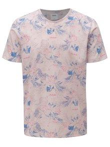 Tricou roz deschis cu model floral si maneci scurte Burton Menswear London