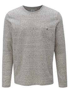 Krémovo-sivé pruhované tričko s dlhým rukávom Burton Menswear London
