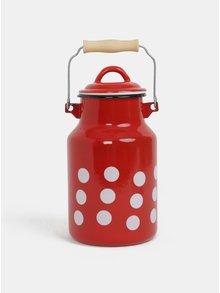 Červená smaltovaná konvice na mléko s puntíky Dakls