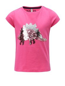 Ružové dievčenské tričko s magickými flitrami Tom Joule Welly