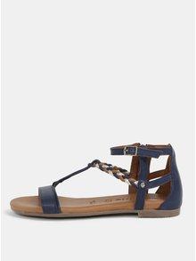 Sandale albastru inchis din piele naturala Tamaris