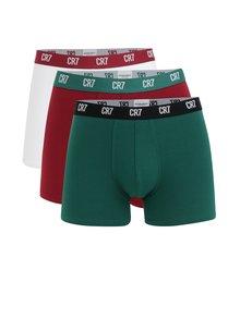 Set de 3 boxeri rosii, verdi si albi CR7