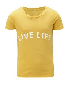 Hořčicové holčičí tričko s potiskem LIMITED by name it Veenkada