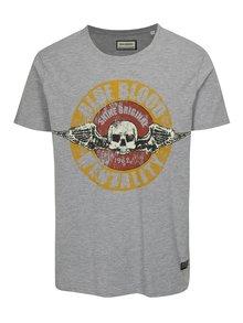 Šedé tričko s potiskem s lebkou Shine Original
