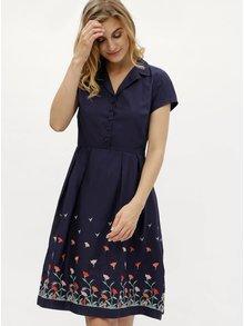 Tmavomodré šaty s výšivkami kvetín Fever London Elsie