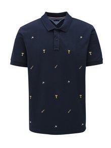 Tmavě modré pánské vzorované regular fit polo tričko Tommy Hilfiger