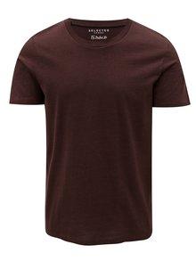 Vínové pruhované tričko Selected Homme The Perfect