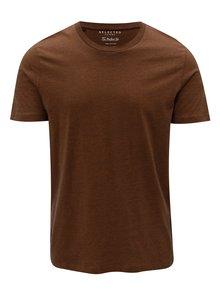 Hnědé pruhované tričko Selected Homme The Perfect