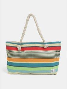 Modro-béžová pruhovaná plážová taška WOOX Sacculi Linea