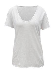 Biele dámske oversize tričko s véčkovým výstrihom Stanley & Stella Slub