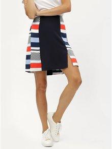 Tmavě modrá vzorovaná áčková sukně Tommy Hilfiger