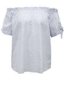 Bluza alb-albastru in dungi cu decolteu pe umeri Broadway Faline