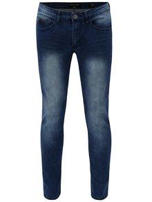Tmavě modré pánské slim fit džíny s vyšisovaným efektem Broadway Tyler