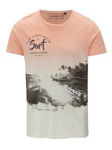 Krémovo-marhuľové pánske tričko s potlačou Broadway Edor