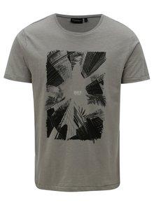 Sivé pánske tričko s potlačou Broadway Down