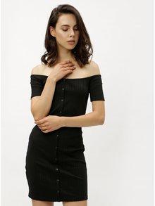 Čierne minišaty s odhalenými ramenami Miss Selfridge