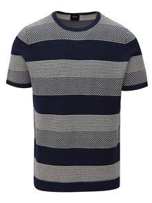 Tmavomodrý pruhovaný sveter s krátkym rukávom Burton Menswear London