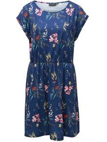 Rochie albastra cu model floral si buzunar la piept Broadway Felicia