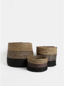 Sada tří pletených košů v hnědé barvě Dakls