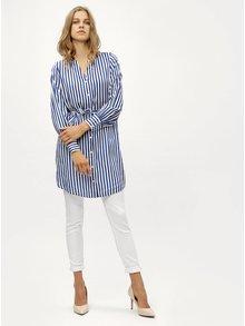 Modrá pruhovaná dlhá košeľa so zaväzovaním VERO MODA Bloom