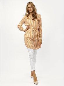 Horčicová pruhovaná dlhá košeľa so zaväzovaním VERO MODA Bloom