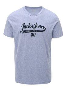 Modré melírované tričko s potlačou Jack & Jones