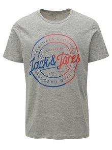 Svetlosivé tričko s potlačou Jack & Jones