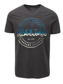 Tmavosivé tričko s potlačou Jack & Jones
