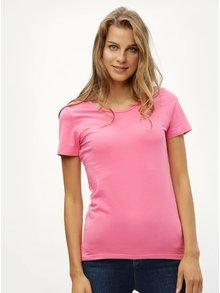 Růžové tričko s kulatým výstřihem Noisy May