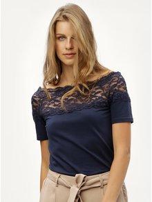 Tmavě modré tričko s krajkovým sedlem Jacqueline de Yong Domino
