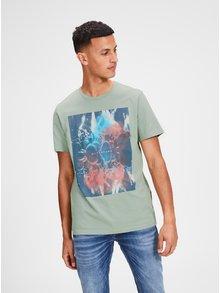 Modro-zelené tričko s potlačou Jack & Jones