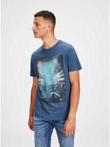 Tmavomodré tričko s potlačou Jack & Jones