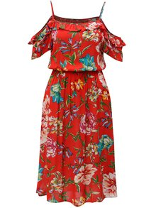 Červené květované šaty s odhalenými rameny Dorothy Perkins