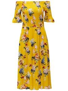 Žlté kvetované šaty s odhalenými ramenami Dorothy Perkins