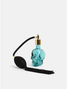 Modrá lahvička na voňavku ve tvaru lebky Temerity Jones
