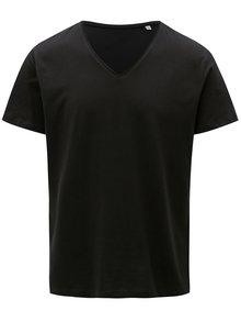 Čierne pánske tričko s véčkovým výstrihom Stanley & Stella