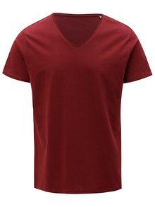 Vínové pánské tričko s véčkovým výstřihem Stanley & Stella