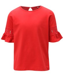 Červené dievčenské tričko s čipkou na rukávoch name it Kam
