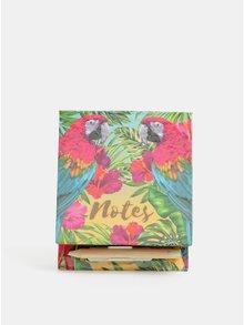 Cutiuta cu hartie si creion roz-albastru cu imprimeu papagali SIFCON