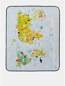 Prosop pentru picnic albastru deschis cu imprimeu harta si animale Butter Kings