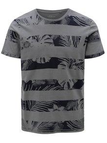 Modro-šedé pánské slim fit pruhované tričko s.Oliver